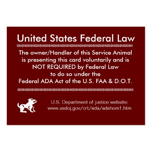 service dog rights card large business cards pack of 100