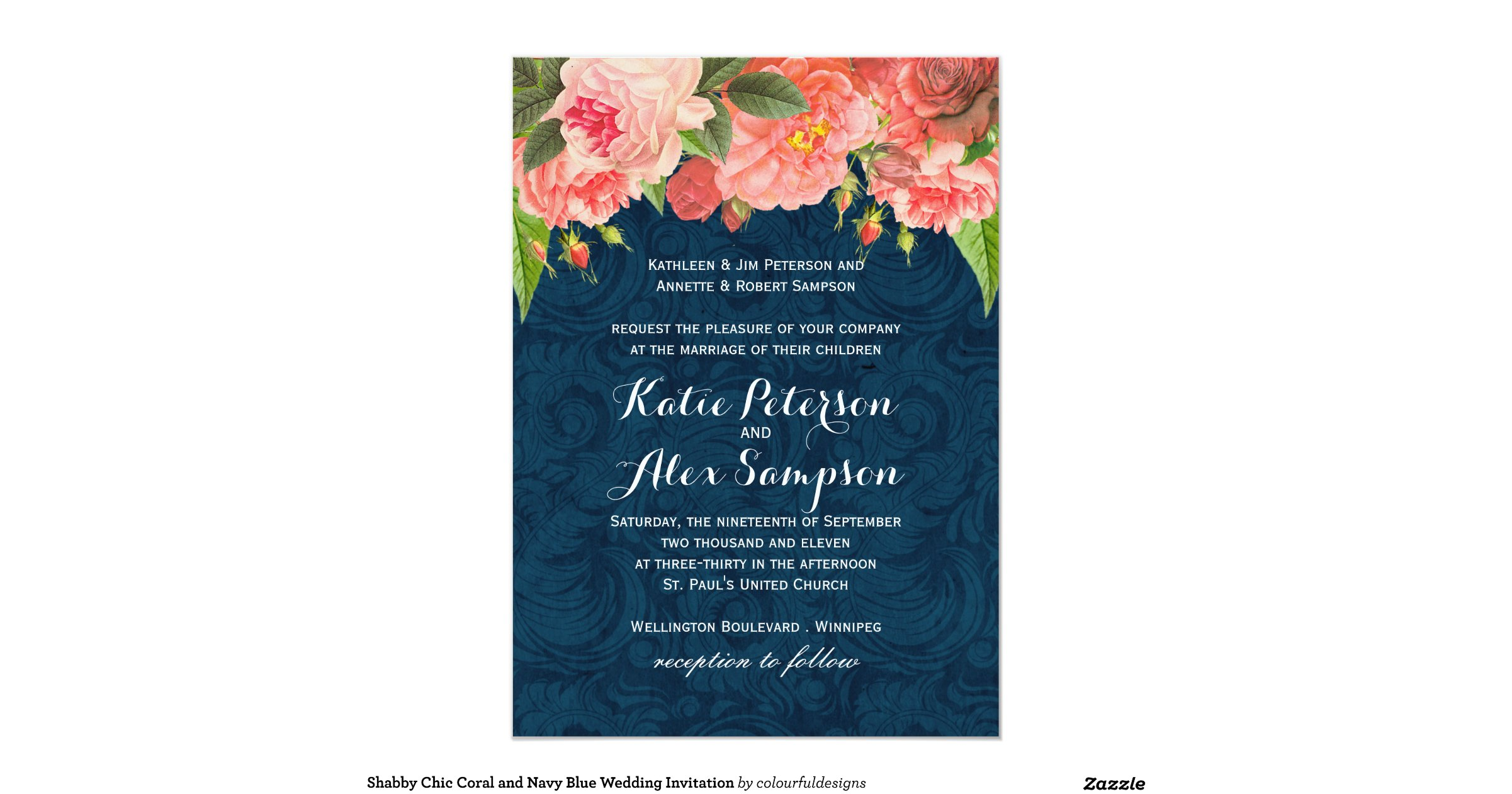 Blue And Coral Wedding Invitations: Shabby_chic_coral_and_navy_blue_wedding_invitation