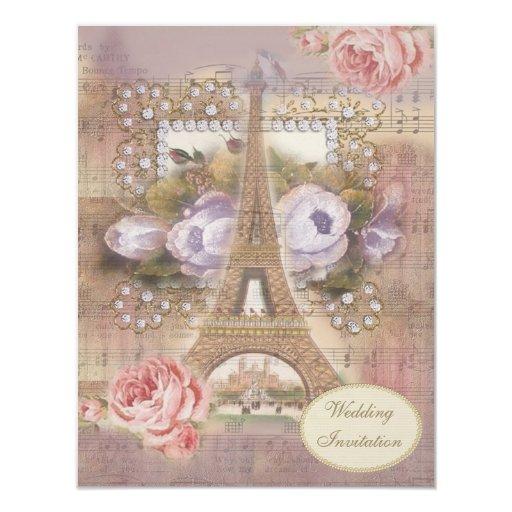 Eiffel Tower Wedding Invitations: Shabby Chic Eiffel Tower Wedding Invitation