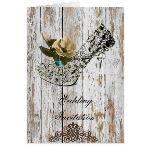 Shabby Chic Vintage Country Wedding Favor Greeting Card