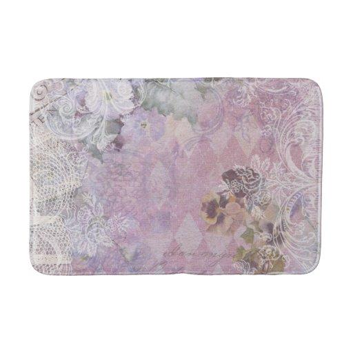 Shabby Vintage Purple Floral Bath Mat Zazzle