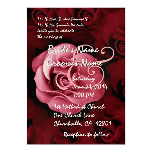 Red And Pink Wedding Invitations: SHADES OF PINK & RED Rose Wedding Invitation