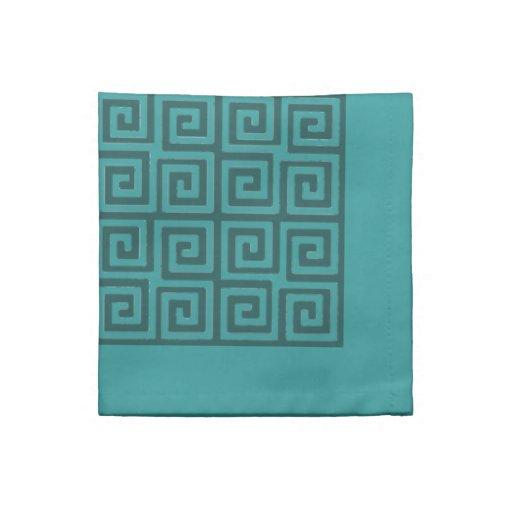 Shades Of Teal Green Greek Key Pattern Napkins