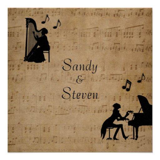 Sheet Classical Music Theme Wedding Invitation 5.25
