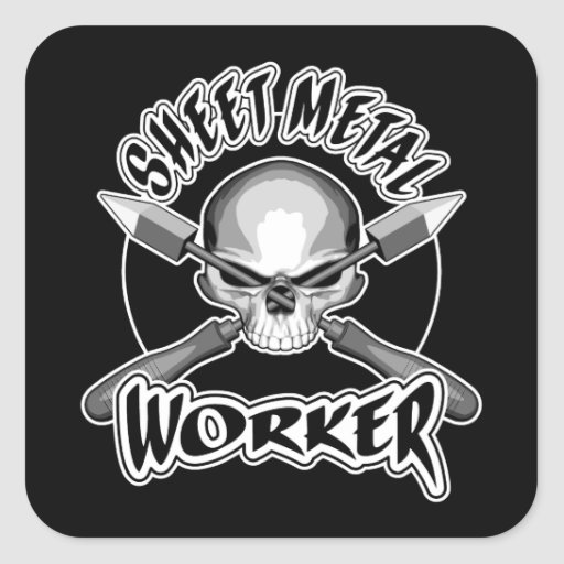 Sheet Metal Worker Logo Square Sticker Zazzle