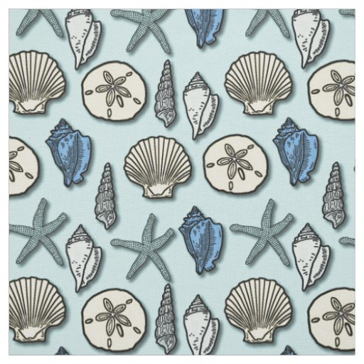 Shell Starfish Sea Nautical Pattern Pretty Blue Fabric ...