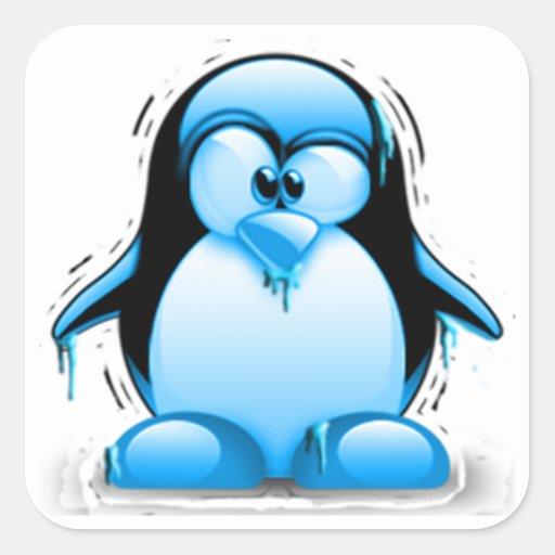 Shivering Cold Blue Tux Square Sticker   Zazzle