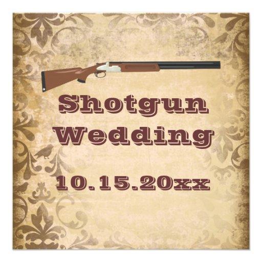 Shotgun Wedding Brown Damask Wedding Invitations