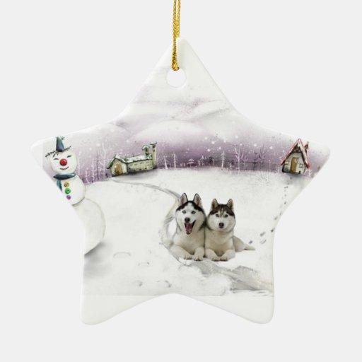 Siberian Husky Christmas ornament | Zazzle