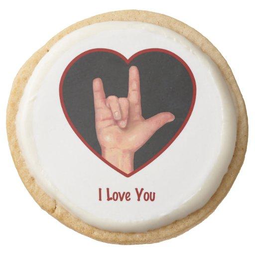 Sign Language I LOVE YOU, Heart, Art Round Shortbread ...
