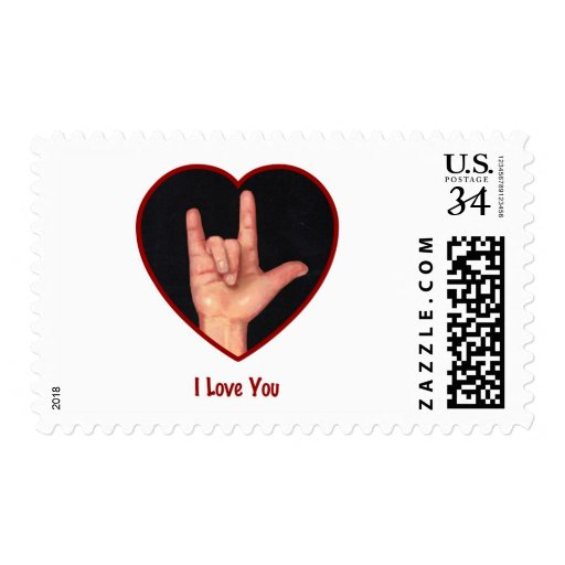 SIGN LANGUAGE I LOVE YOU HEART, HAND POSTAGE STAMPS | Zazzle