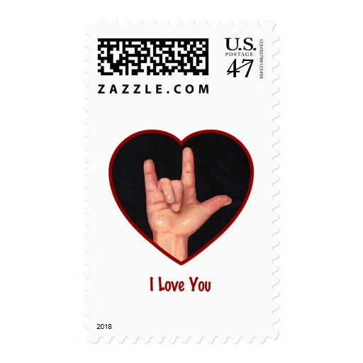 SIGN LANGUAGE I LOVE YOU HEART, HAND POSTAGE STAMP | Zazzle