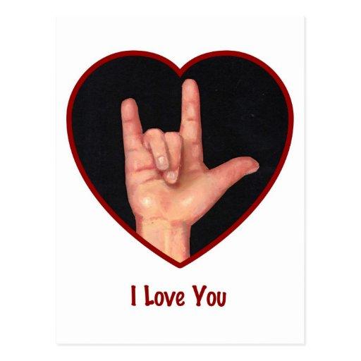 SIGN LANGUAGE I LOVE YOU HEART, HAND POSTCARD | Zazzle