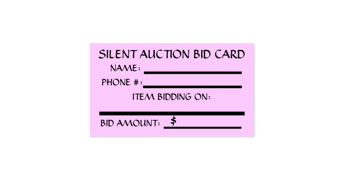 Silent auction bid card zazzle for Auction bid cards template