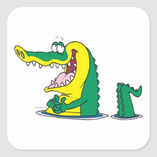 silly alligator crocodile cartoon character square sticker ... - photo#11