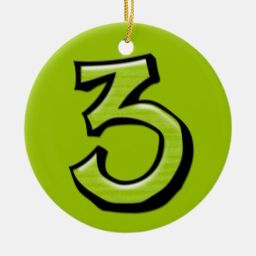 Silly Number 3 green Ornament | Zazzle