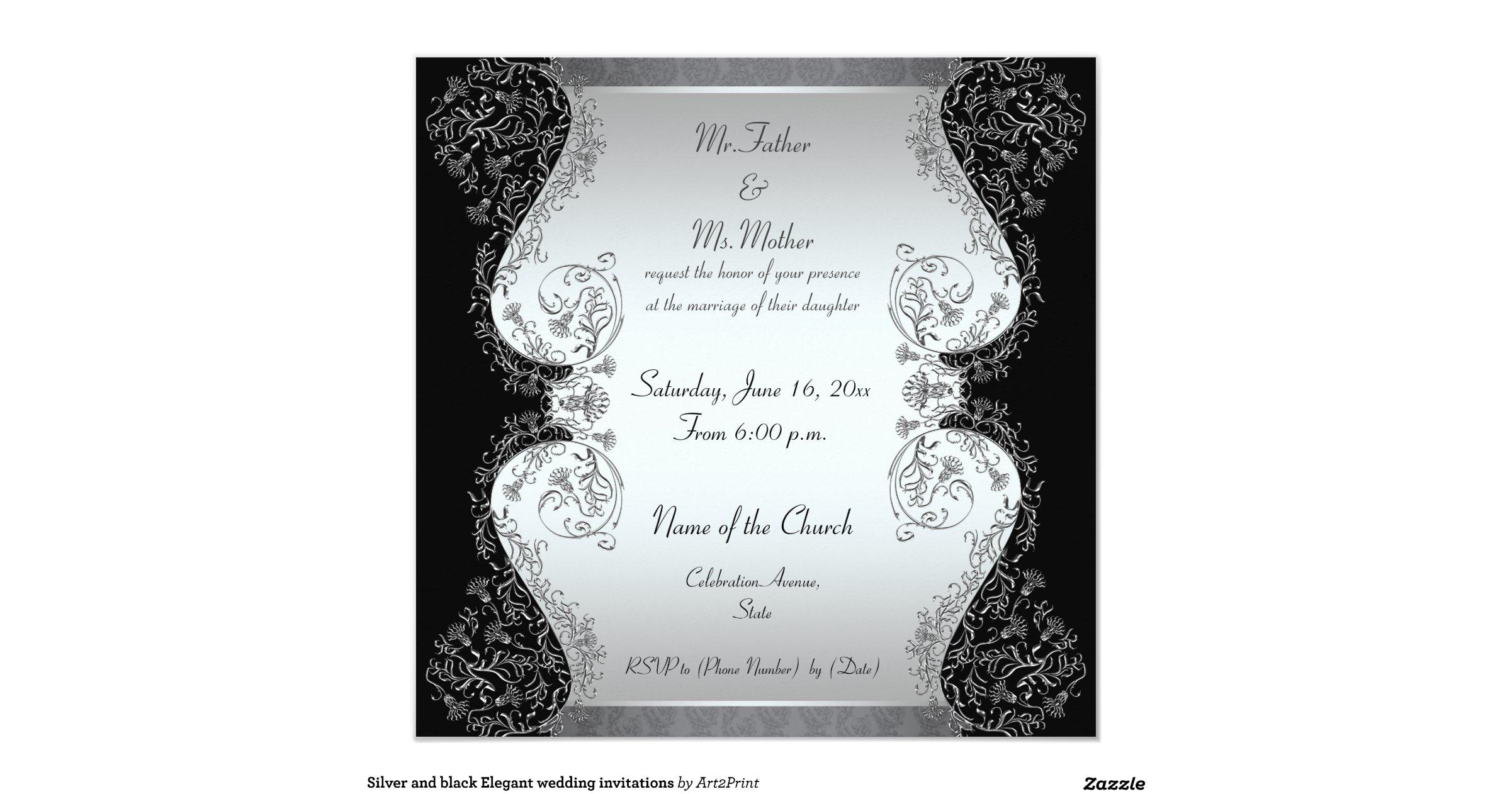 Black And Silver Wedding Invitations: Silver_and_black_elegant_wedding_invitations