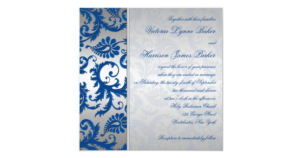 Cobalt Blue Wedding Invitations: Silver And Cobalt Blue Damask Wedding Invitation