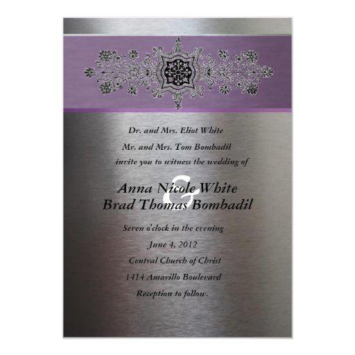 Purple And Silver Wedding Invitations: Silver And Purple Metallic Wedding Invitation
