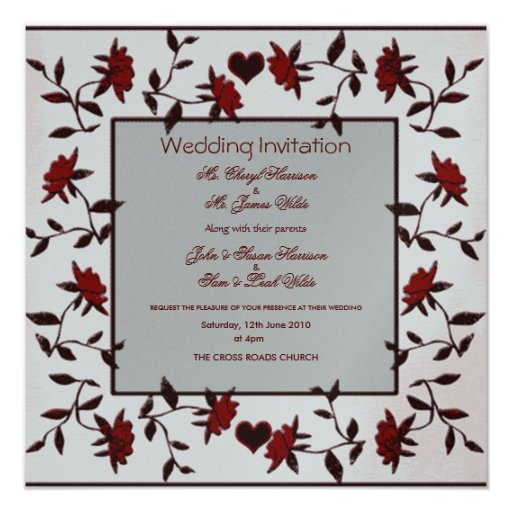 Printable Wedding Invitations Designs With Red And Silver: SILVER AND RED ROSES WEDDING INVITATION