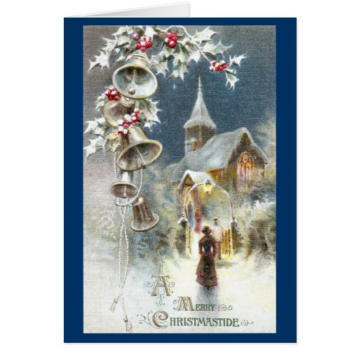 Silver Bells And Church Vintage Christmas Card