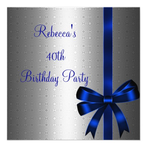 Silver Blue Bow 40th Elegant Birthday Party Personalized Invites