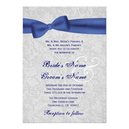 Wedding Invitations Blue And Silver: Silver Damask And Royal Blue Bow Wedding 5x7 Paper