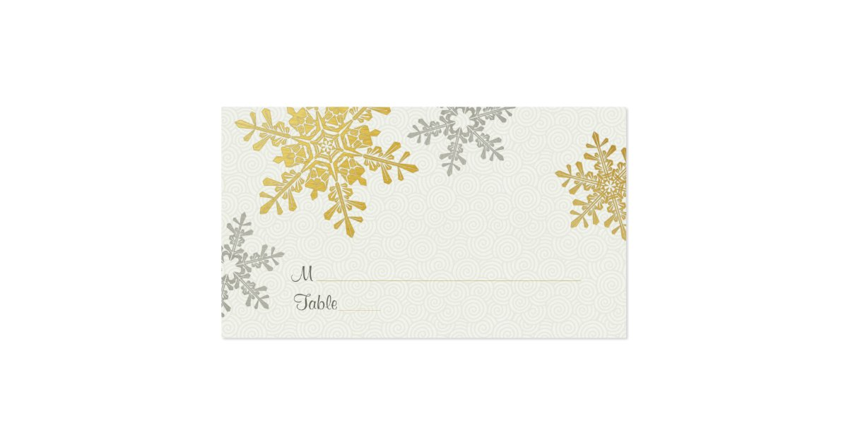 silver gold snowflake winter wedding place cards zazzle. Black Bedroom Furniture Sets. Home Design Ideas