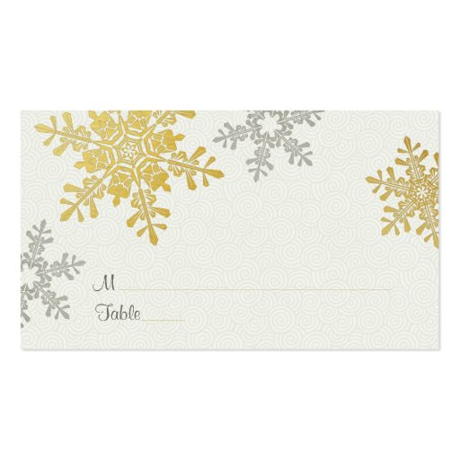 Silver gold snowflake winter wedding place cards double for Double sided place card template
