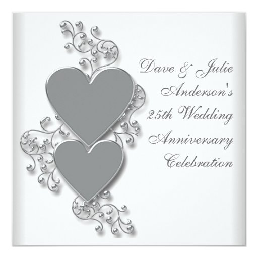 25 Wedding Anniversary Celebration Ideas: Silver Hearts 25th Wedding Anniversary Party Card