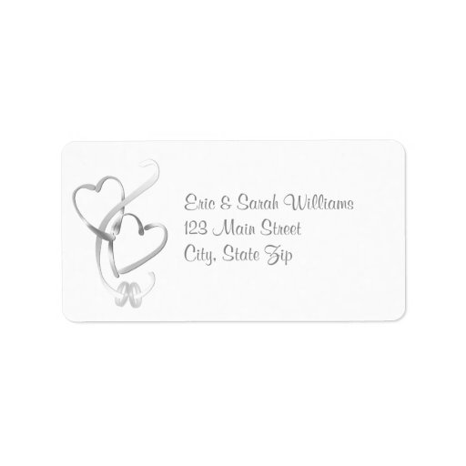 Silver Hearts Wedding Address Labels
