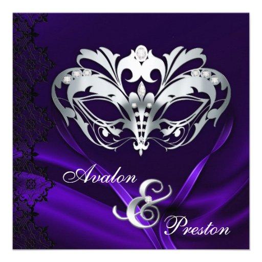 Masquerade Wedding Invitations: Silver Masquerade Purple Jeweled Wedding 5.25x5.25 Square