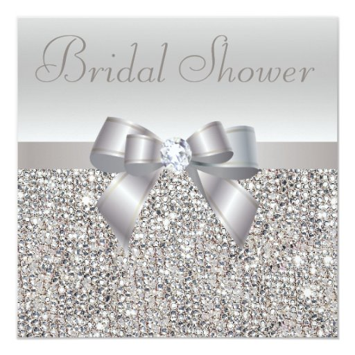 Diamond Wedding Invitation Label: Silver Printed Sequins Bow & Diamond Bridal Shower Invitation