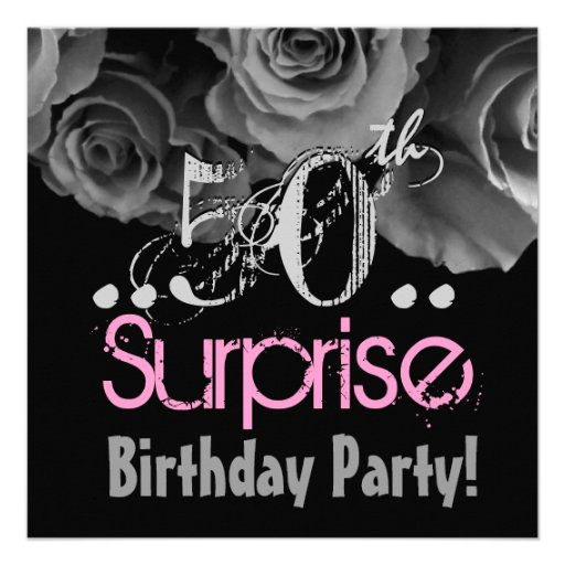 Silver Rose Bouquet 50th Surprise Birthday Party Custom Invite