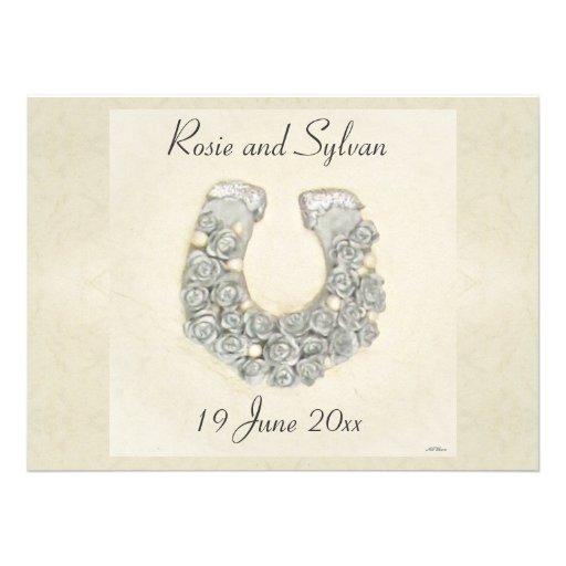 Handfasting Invitation: Silver Roses Horseshoe Wedding 5.5x7.5 Paper Invitation