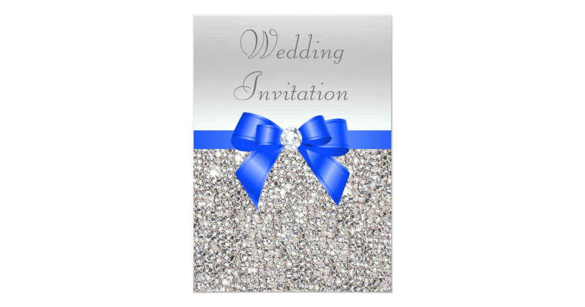 Wedding Invitations Royal Blue And Silver: Silver Sequins Royal Blue Bow And Diamond Wedding Card