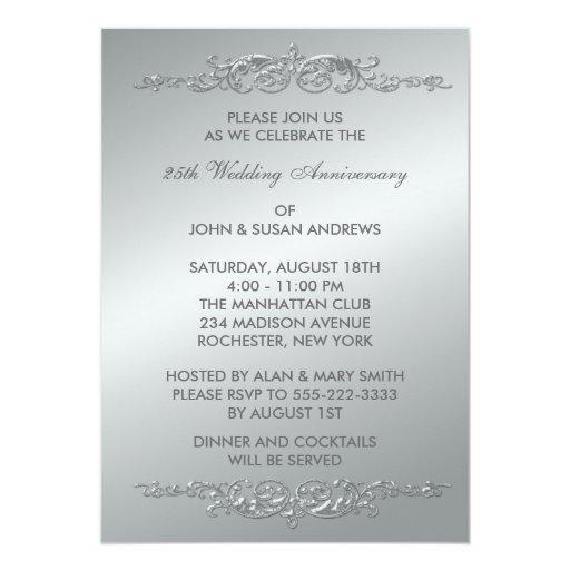 25th Wedding Anniversary Invitation Cards For Parents: Silver Swirls 25th Wedding Anniversary Card