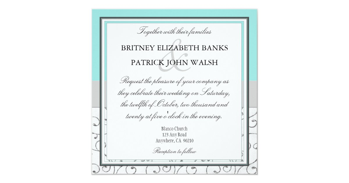 Tiffany Blue Wedding Invitations Kits: Silver Swirls Tiffany Blue Wedding Invitations