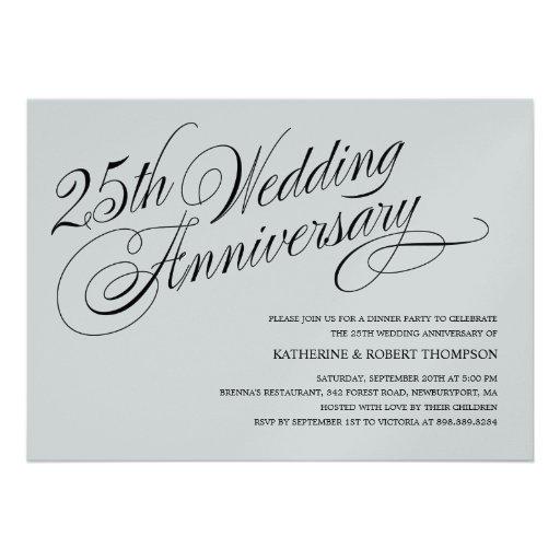 Personalized Silver Anniversary Invitations