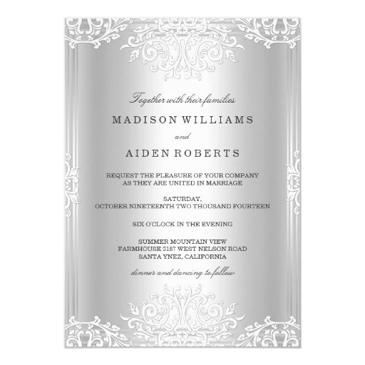 Vintage Glam Wedding Invitations: Silver White Vintage Glamour Wedding Invitation