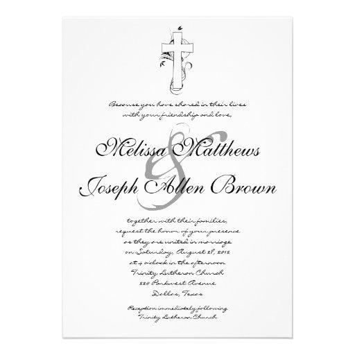 Christian Wording For Wedding Invitations: Simple Black & White Christian Wedding Invitation