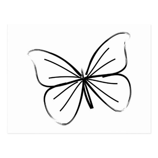 Simple Butterfly Drawing: Simple Butterfly Line Drawing Postcard