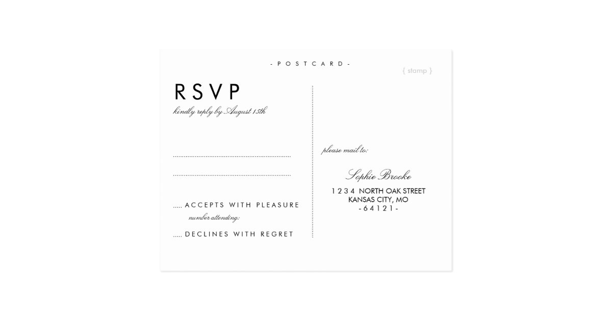simple chic wedding rsvp postcard template zazzle. Black Bedroom Furniture Sets. Home Design Ideas