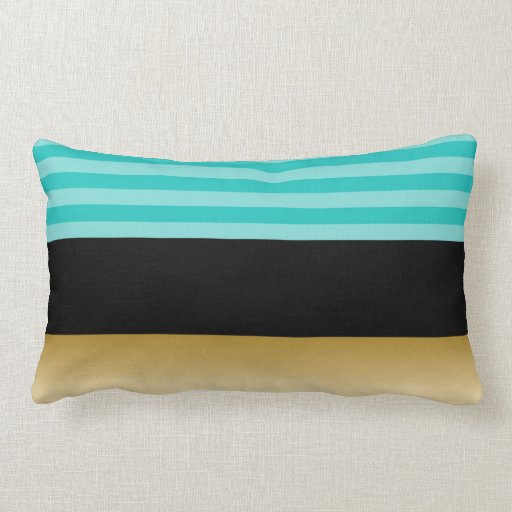 simple elegant turquoise striped black and gold throw pillows zazzle. Black Bedroom Furniture Sets. Home Design Ideas