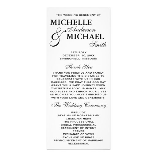 Simple Elegant Wedding Program Rack Card Template