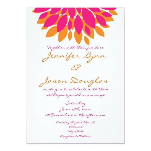 Pink Orange Wedding Invitations: Simple Pink And Orange Flowers Wedding Invitations