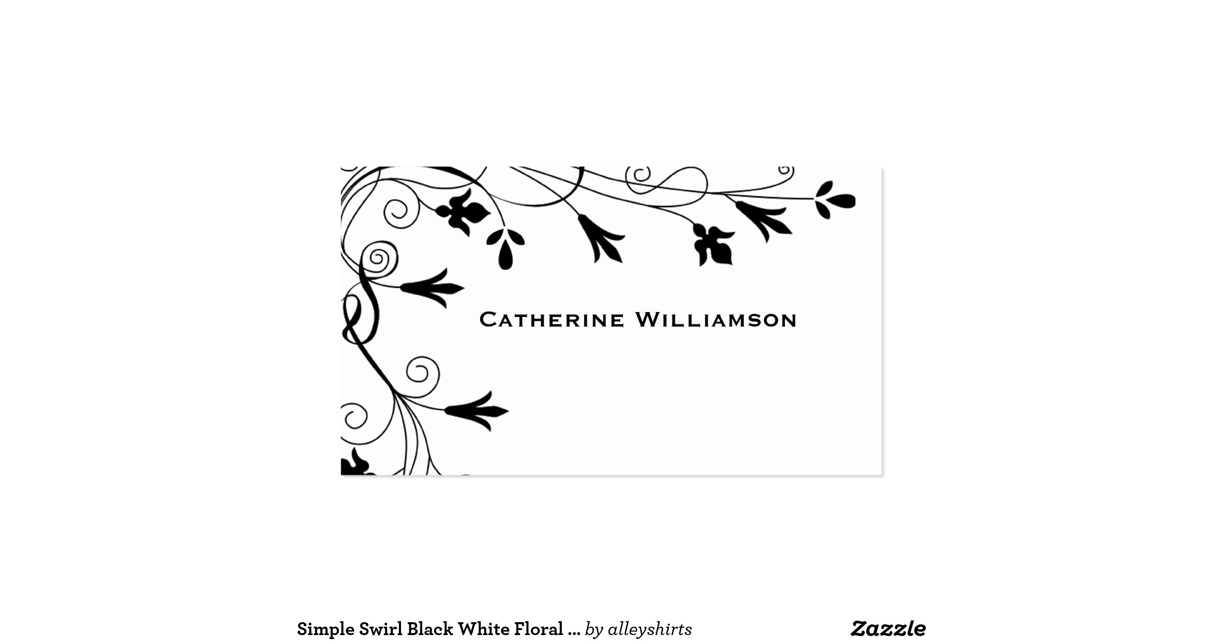 simple swirl black white floral vine border doublesided