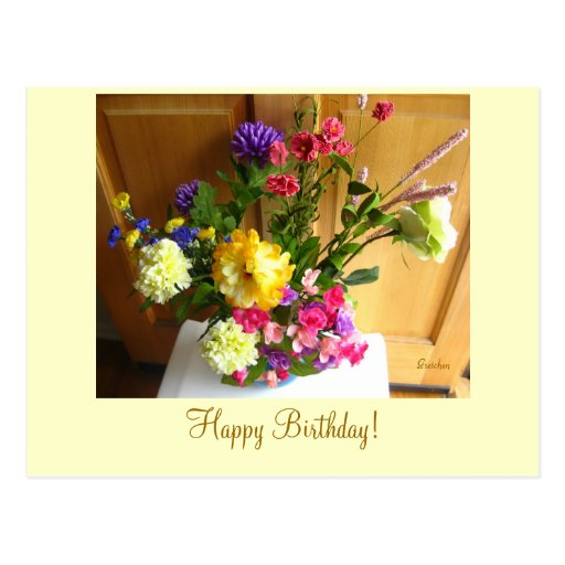 Singing Flowers Happy Birthday Postcard