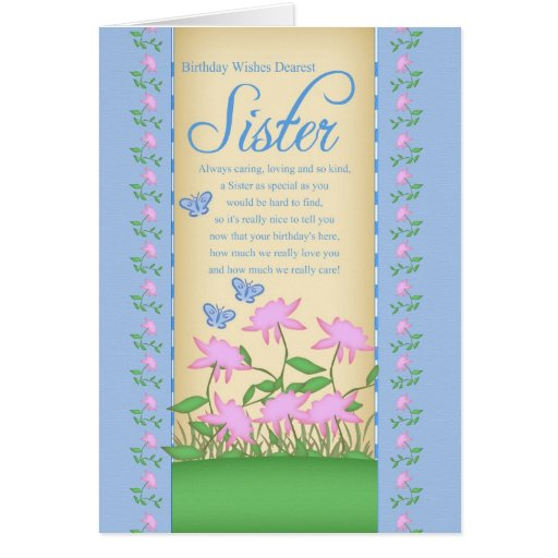 Sister Birthday Card Flowers And Butterflies
