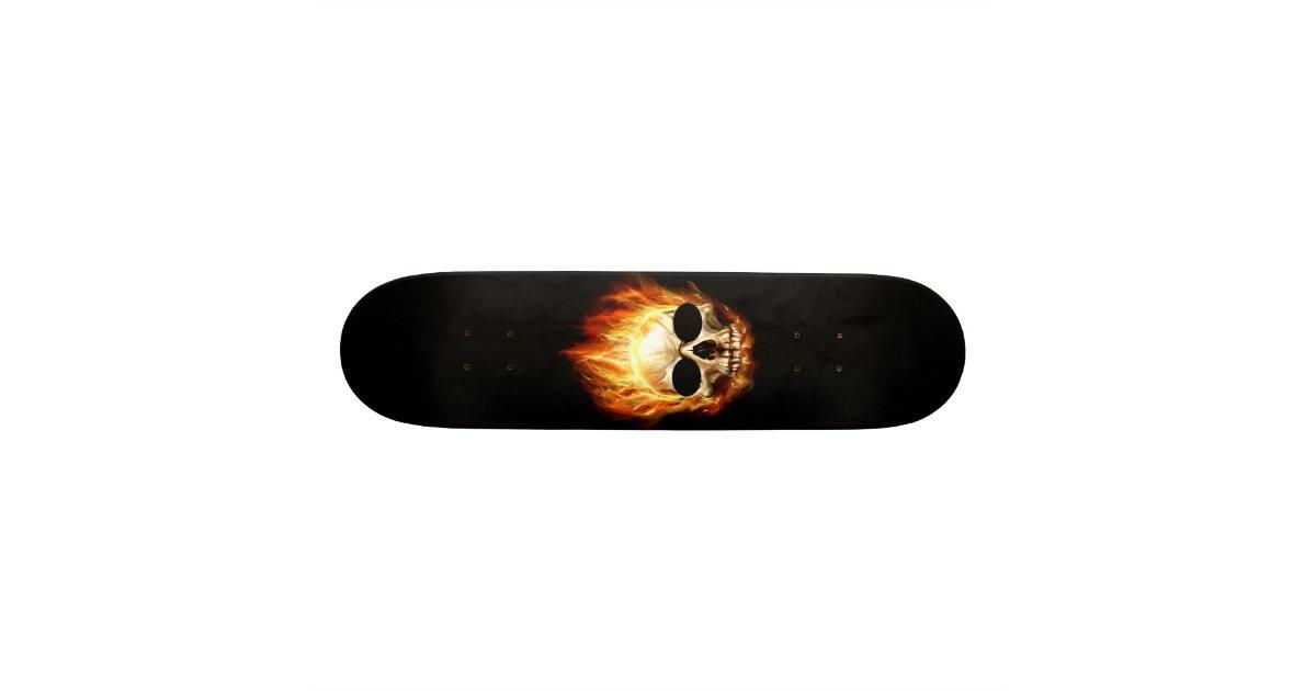 Skull On Fire Skateboard Deck Zazzle